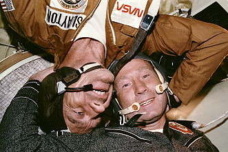 ASTP: Meeting in space (Leonov and Slayton)