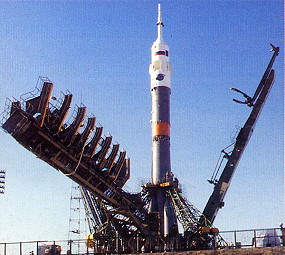 Soyuz TM-24 on launch pad