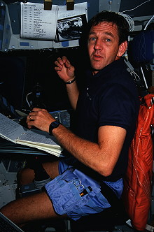McCulley onboard Space Shuttle