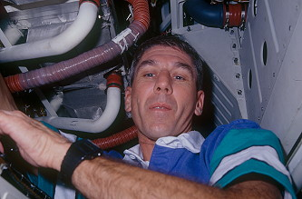 Springer onboard Space Shuttle
