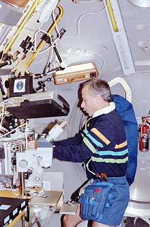 Meade onboard Space Shuttle