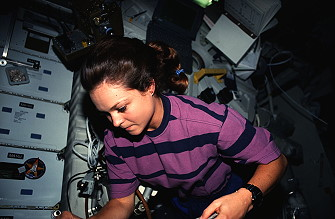 Jernigan onboard Space Shuttle