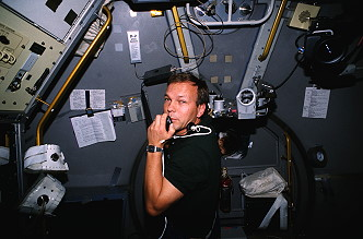 Schlegel onboard Space Shuttle