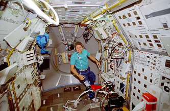 Walter onboard Space Shuttle