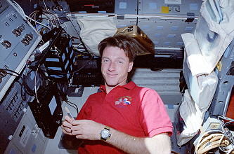 Foale onboard Space Shuttle