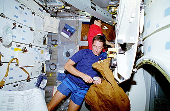 Thomas onboard Space Shuttle