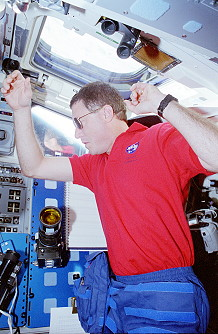 Baker onboard Space Shuttle