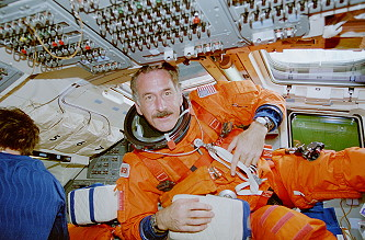 Hoffman onboard Space Shuttle
