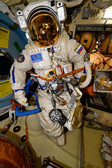 Orlan spacesuit in Pirs airlock