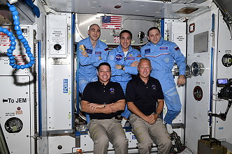 Crew ISS-63 including just arrived Dragon SpX-DM2 astronauts