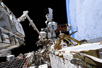 ISS with Crew Dragon (as seen on EVA on June 26, 2020)