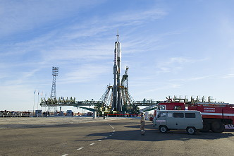 Soyuz MS-10 on the launch pad
