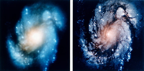 Hubble photo before and after the repair